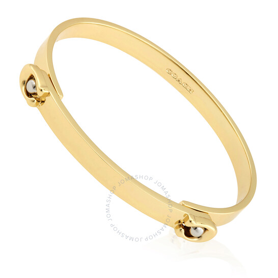 Coach Ladies Sculpted Signature Tension Hinged Bangle In Gold/Silver | Joma Shop