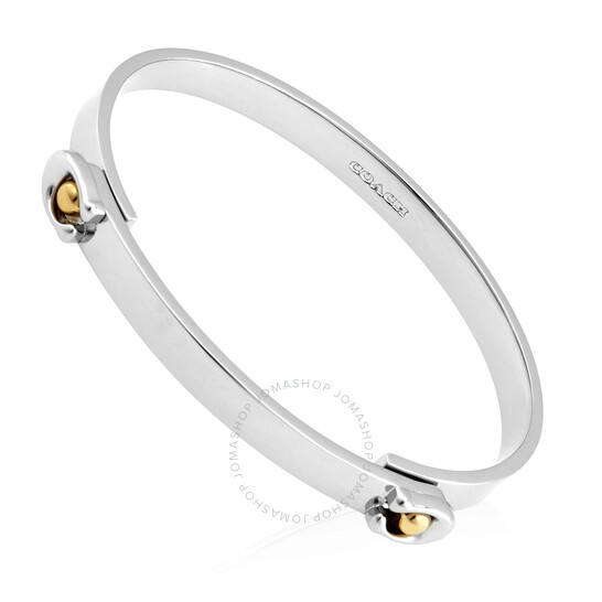 Coach Ladies Sculpted Signature Tension Hinged Bangle In Silver/Gold | Joma Shop