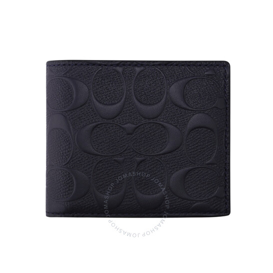 Coach Mens Midnight Signature Leather 3-In-1 Wallet