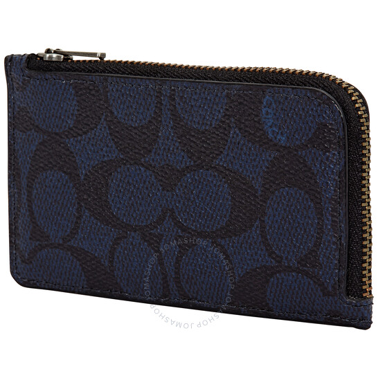 Coach Midnight L-zip Card Case In Signature Canvas