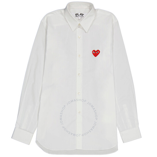 Comme Des Garcons Heart Logo Cotton Shirt In White, Brand Size X-Large | Joma Shop
