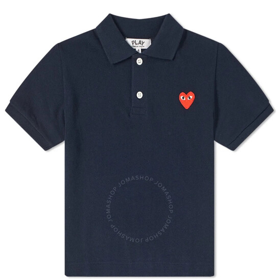 Comme Des Garcons Kids Short Sleeve Embroidered Heart Polo Shirt, Brand Size 4 Youth/Juniors   Joma Shop