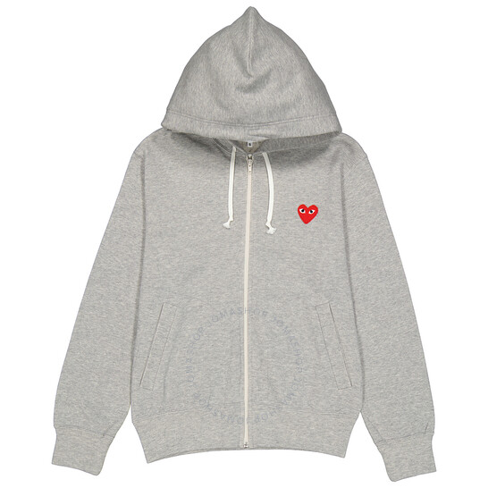 Comme Des Garcons Ladies Embroidered Hearts-appliqued Cotton-jersey Hoodie, Brand Size Medium   Joma Shop