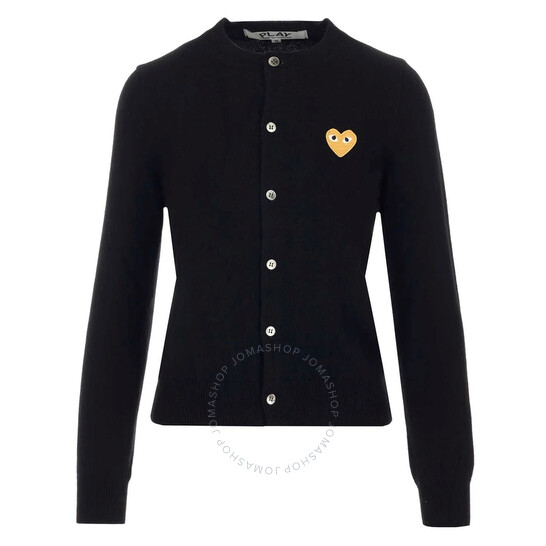 Comme Des Garcons Ladies Gold Heart Crewneck Cardigan In Black, Brand Size X-Small | Joma Shop