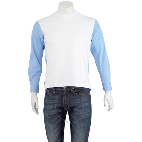Comme Des Garcons Mens Blue / White Two-tone Jumper