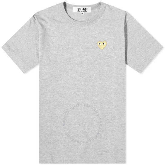 Comme Des Garcons Men's Grey Play Gold Heart Logo Tee, Brand Size Medium | Joma Shop