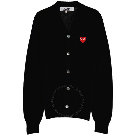 Comme Des Garcons Men's Heart Logo Cardigan In Black, Brand Size Small   Joma Shop