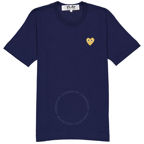 Comme Des Garcons Men's Play Gold Heart Logo Navy Tee, Brand Size Small   Joma Shop