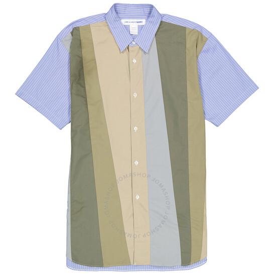Comme Des Garcons Mens Stripe Contrast Panel Short Sleeve Shirt