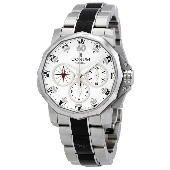 Corum Admirals Cup Split Seconds White Chronograph Automatic Mens Watch A986/04106