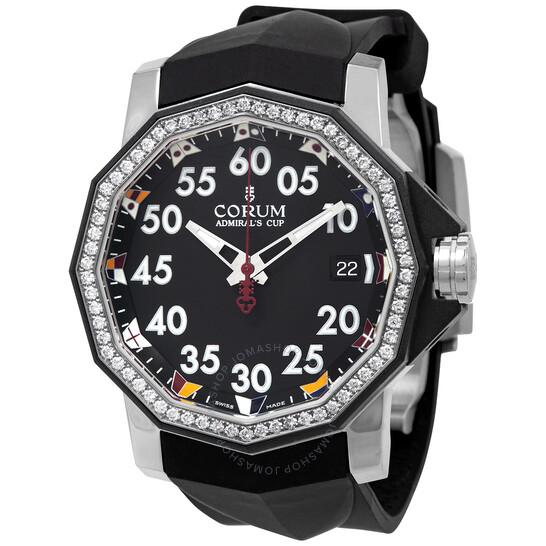 Corum Admirals Cup Black Dial Diamond Bezel Mens Watch A082/04190