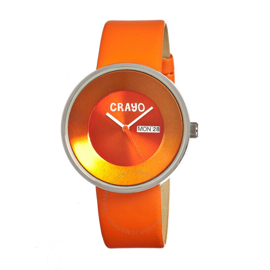 Crayo Button Quartz Orange Dial Orange Leather Unisex Watch CR0205 | Joma Shop