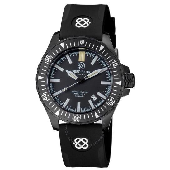 Deep Blue Daynight Mil T-100 Tritium Flat Tubes Automatic Black Dial Unisex Watch MILT100PVDBLACKGREENTUBES   Joma Shop