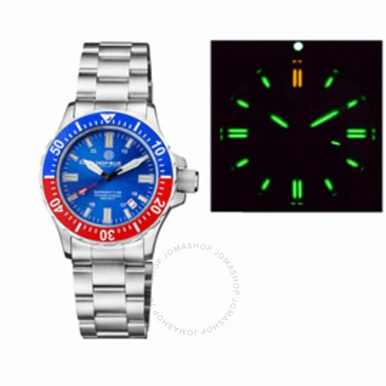 Deep Blue Daynight T-100 Tritium Tubes Automatic Blue Dial Men's Watch TRITDVR41PEPSI   Joma Shop
