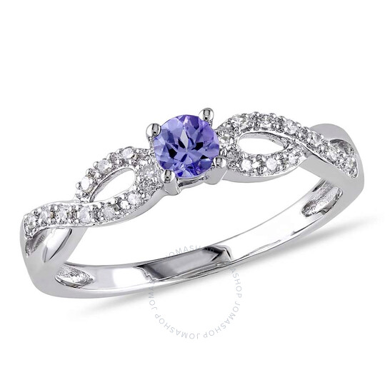 Amour Delmar 1/10 CT TW Diamond and Tanzanite Infinity Ring in Sterling Silver - Size 4   Joma Shop