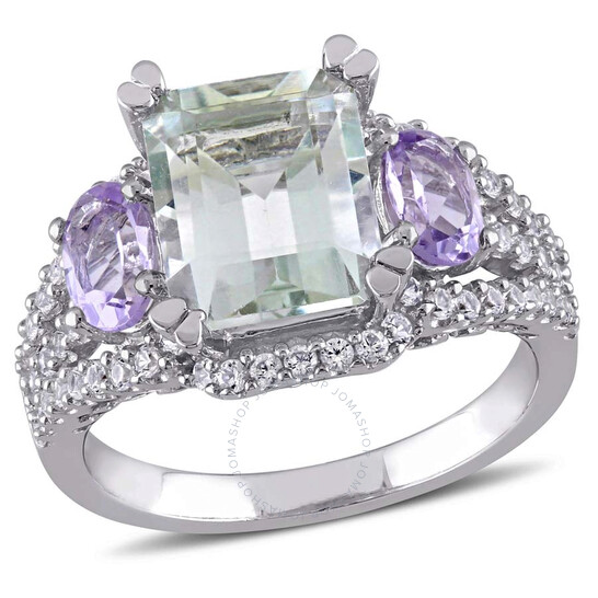Amour Delmar 5 CT TGW Emerald Cut Green Amethyst, Rose de France and Created White Sapphire 3-Stone Ring in Sterling Silver - Size 6   Joma Shop