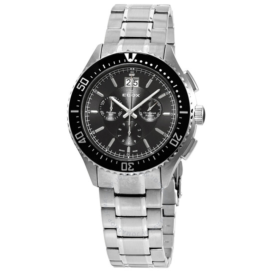 Edox Chronograph Black Dial Stainless Steel Men's Watch