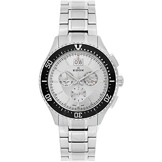 Edox Chronograph Silver Dial Stainless Steel Men's Watch