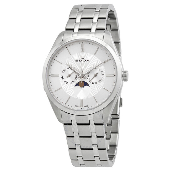 Edox Moonphase Date Silver Dial Men's Watch (40008-3M-AIN)