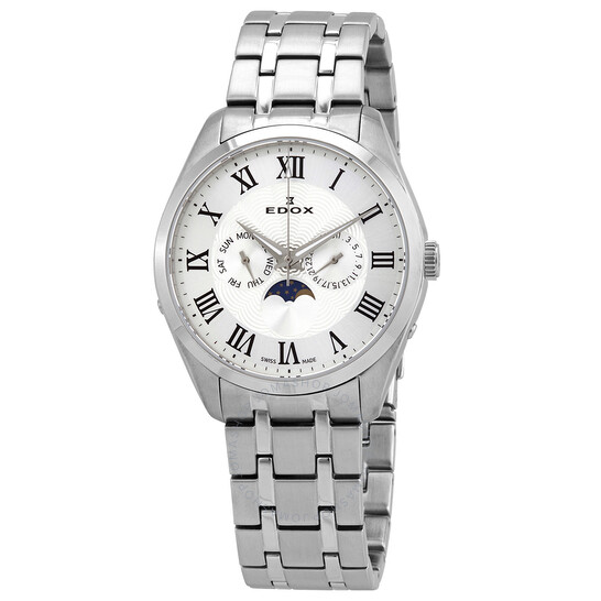Edox Moonphase Date Silver Dial Men's Watch (40008-3M-ARN)