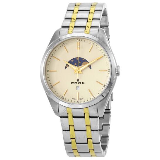 Edox Moonphase Beige Dial Two-tone Men's Watch (79018-357JM-BEID)