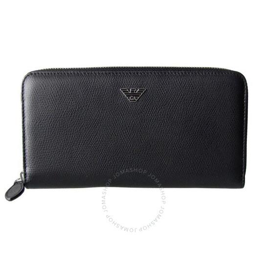 Emporio Armani Men's Soft Saffiano Zip Around Wallet