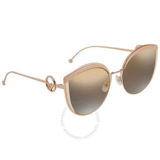 Fendi Gold Mirror Cat Eye Ladies Sunglasses (FF 0290/S 0IJS)