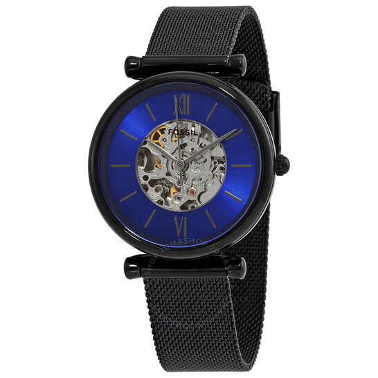 Fossil Carlie Automatic Blue Dial Ladies Watch ME3177   Joma Shop
