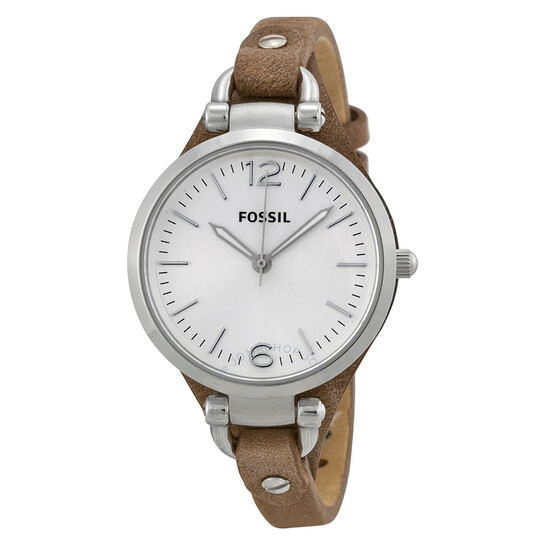 Fossil Georgia Silver Dial Tan Leather Ladies Watch ES3060   Joma Shop
