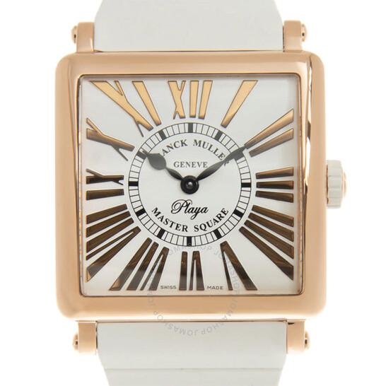 Franck Muller Master Square Playa Quartz White Dial Ladies Watch 6002MQZRELRPLY(5N)-WT STRAP   Joma Shop