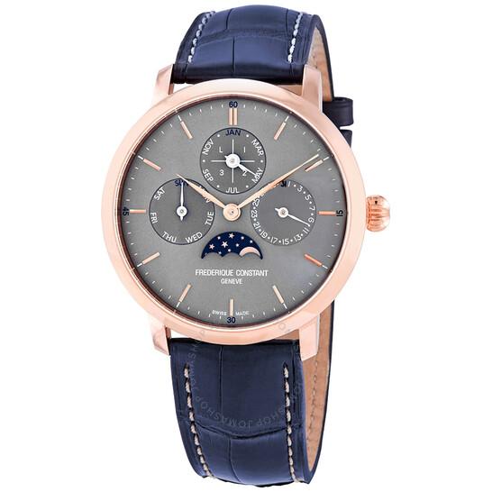 Frederique Constant Slimline Perpetual Calendar Manufacture Automatic Grey Dial Men's Watch FC-775G4S4 | Joma Shop