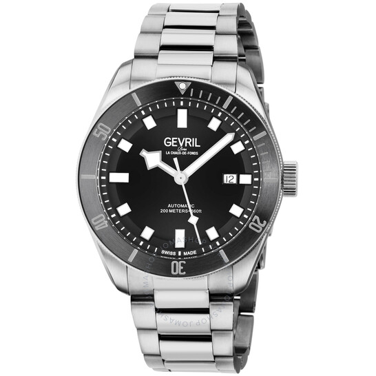 Gevril Yorkville Swiss Automatic Black Dial Men's Diver Watch (48600)