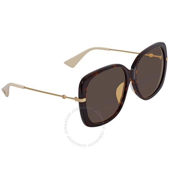 Deals on GUCCI Brown Rectangular Ladies Sunglasses