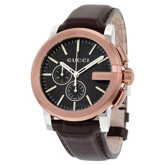 Gucci G Chrono XL Black Dial Brown Leather Men's Watch YA101202 | Joma Shop
