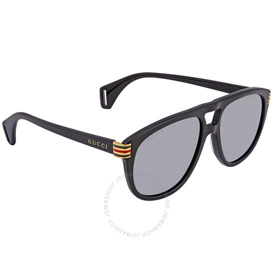 Gucci Grey Polarized Pilot Men's Sunglasses (GG0525S00260)
