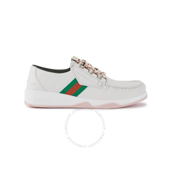 Gucci Men's Leather Lace-Up Low-Top Sneakers With Web, Brand Size 7.5 (US Size 8)   Joma Shop