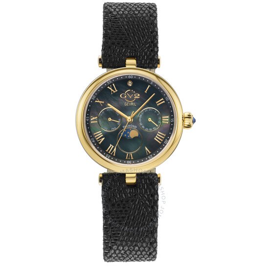 Gv2 By Gevril Florence Black Mother of Pearl Dial Ladies Watch 12506 | Joma Shop