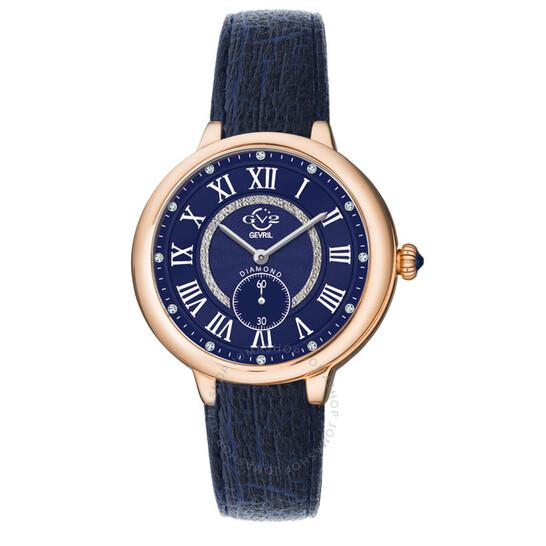 Gv2 By Gevril Rome Vegan Quartz Diamond Blue Dial Ladies Watch 12206-V1   Joma Shop