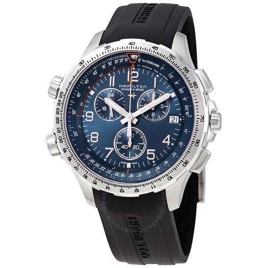 Hamilton Khaki X-Wind Chronograph Quartz Blue Dial Men's Watch H77922341 | Joma Shop