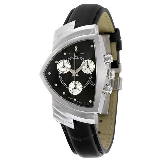 Hamilton Ventura Chrono Black Dial Shield Shaped Men's Watch H24412732 | Joma Shop