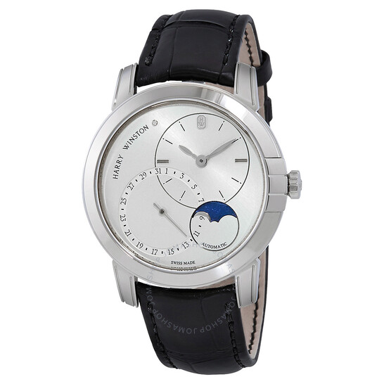 Harry Winston Midnight Silver Dial Automatic Men's Moon Phase Watch MIDAMP42WW003 | Joma Shop