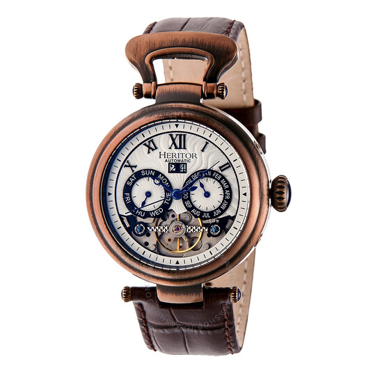 Heritor Ganzi Silver Dial Automatic Men's Watch (HR3308)