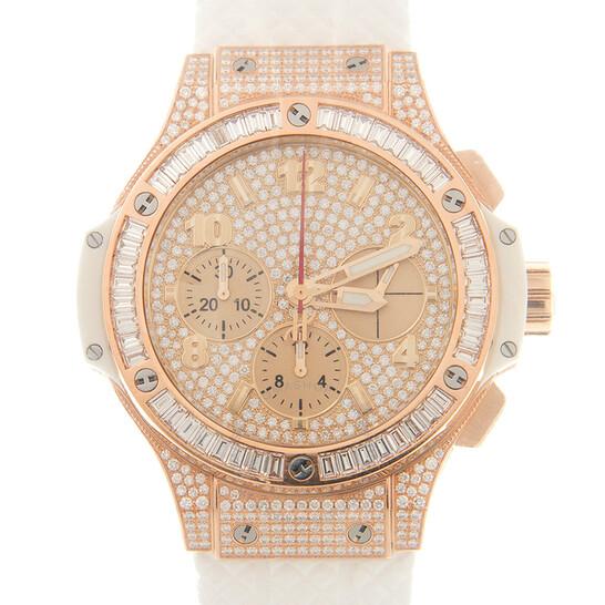 Hublot Big Bang Chronograph Automatic Diamond Gold Dial Watch 341.PE.9010.RW.0904 | Joma Shop