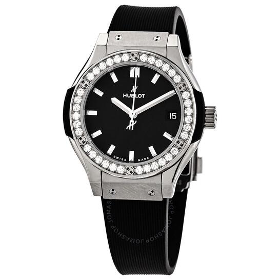 Hublot Classic Fusion Mat Black Dial Ladies Diamond Watch 581.NX.1171.RX.1104   Joma Shop