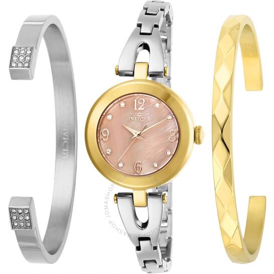 Invicta Angel Quartz Crystal Gold Dial Ladies Watch and Bracelet Set 29337 | Joma Shop