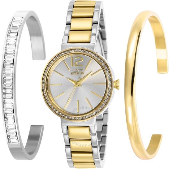 Invicta Angel Quartz Crystal Silver Dial Ladies Watch and Bangle Set 29273 | Joma Shop
