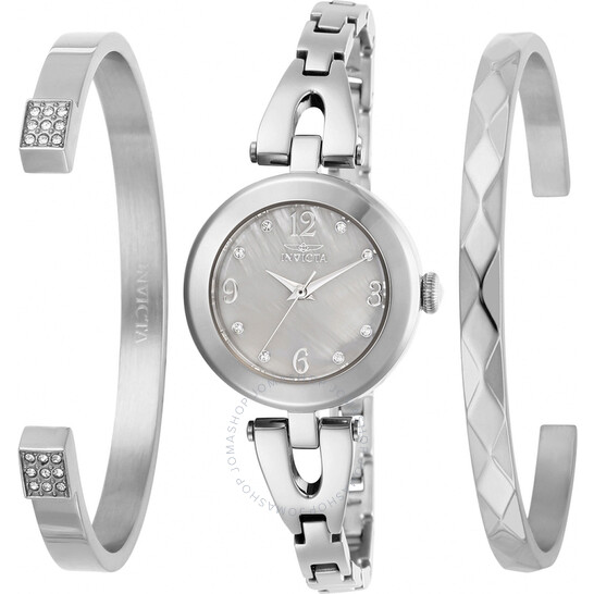 Invicta Angel Quartz Crystal White Mother of Pearl Dial Ladies Watch and Bracelet Set 29330 | Joma Shop