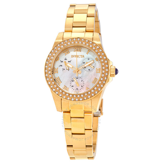 Invicta Angel Quartz Crystal White Mother of Pearl Dial Ladies Watch 28481   Joma Shop