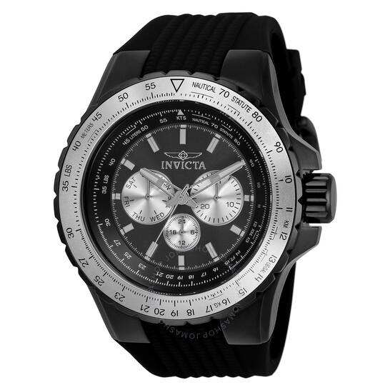 Invicta Aviator Quartz Black Dial Black Silicone Men's Watch 33033 | Joma Shop