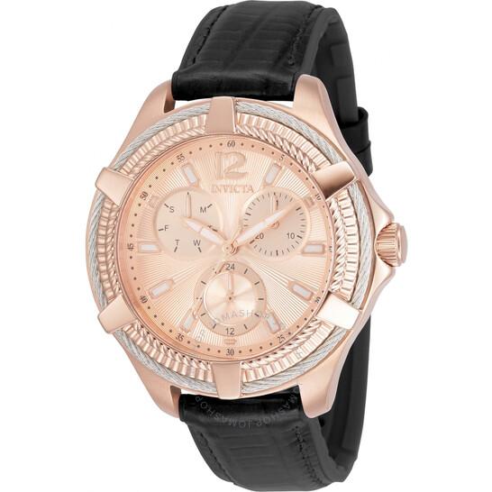 Invicta Bolt Quartz Rose Dial Black Leather Ladies Watch 30892 | Joma Shop